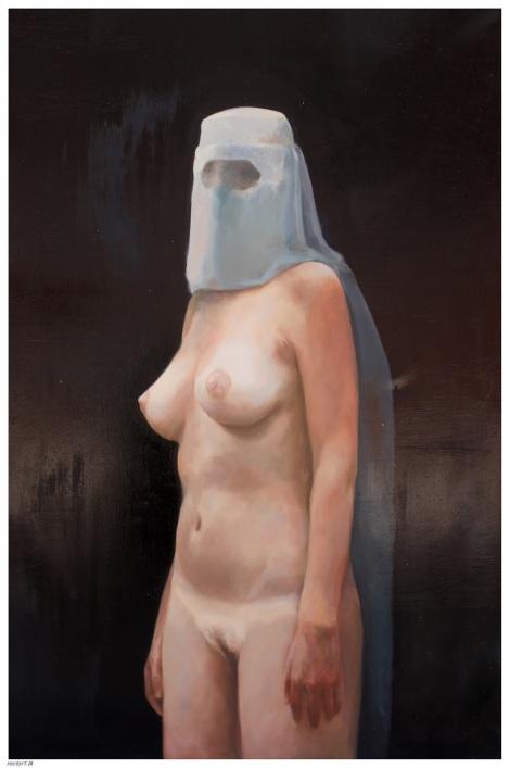 Burka de verano . 2013, óleo sobre lienzo, 162 x 100 cm.