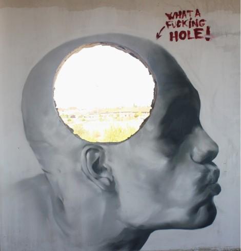 What a fucking hole! 2012.. . Spray sobre pared. 2,5 x2,5 m. Villaviciosa de Odón