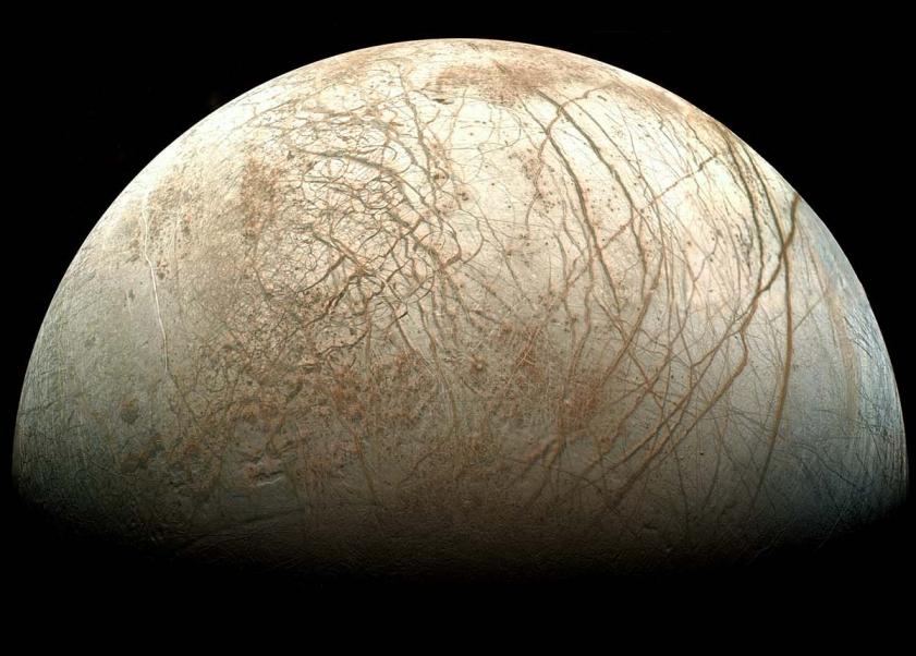 1. Europa, satélite de Júpiter. Fotografía: Sonda Espacial Galileo