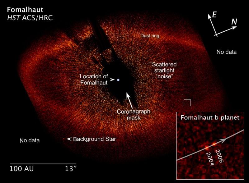 4. La Estrella Formalhaut y su disco de polvo. Composición de imágenes del Telescopio Espacia Hubble