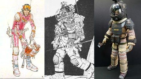 Dos diseños de Moebius para los trajes de Alien, el octavo pasajero y modelo final de la película