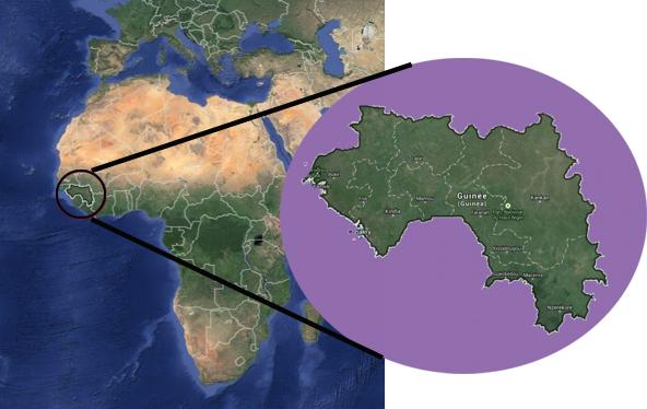 Mapa de la república de Guinea