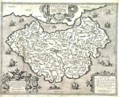 La isla de Utopía, cartografía del flamenco Abraham Ortelius