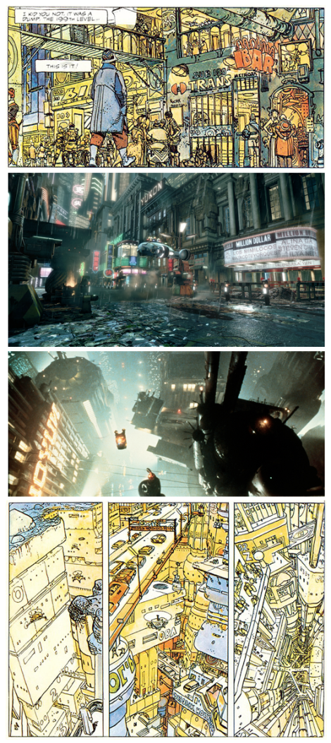 Fotogramas de Blade Runner y viñetas de The Long Tomorrow