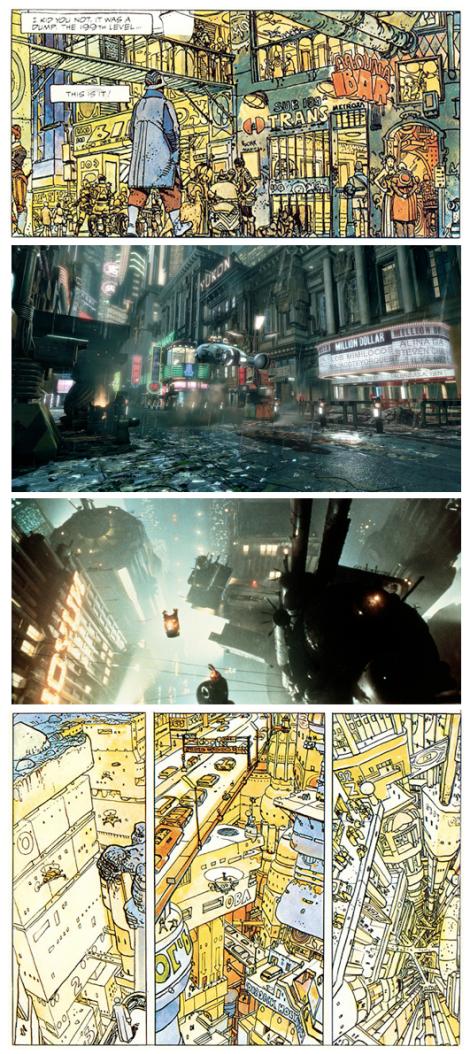 Fotogramas de Blade Runner y viñetas de The Long Tomorrow