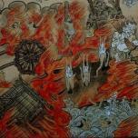 Descripciones del infierno en pergamino budista japonés: Onis desgarrando y comiendo cuerpos